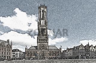 Belfried, Brügge, Belgien   Belfry, Bruges, Belgium