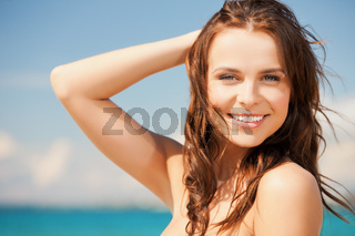 woman in bikini smiling