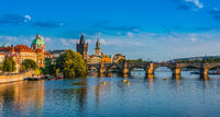 View of dowtown Prague with Charles Bridge over the Vltava river. Czech Republic