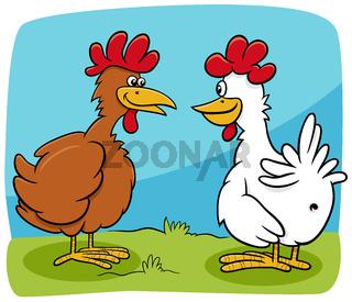 cartoon two hens farm birds characters talking
