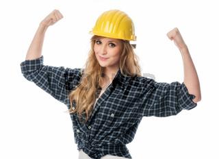 powerfrau mit helm