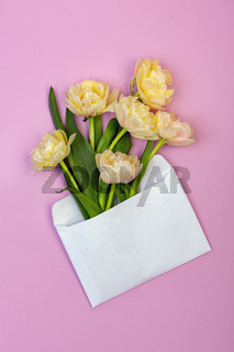 Bouquet of pastel yellow-pink tulips.
