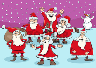happy Santa Claus cartoon characters group on Christmas time