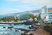 Waterfront with resort hotels in Puerto de la Cruz