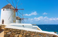 Windmillls by the sea in Mykonos island,