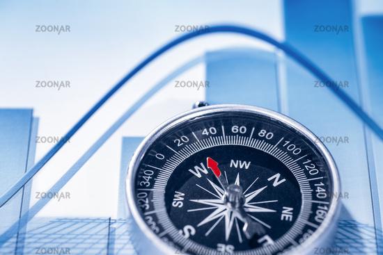 Financial symbols and compass