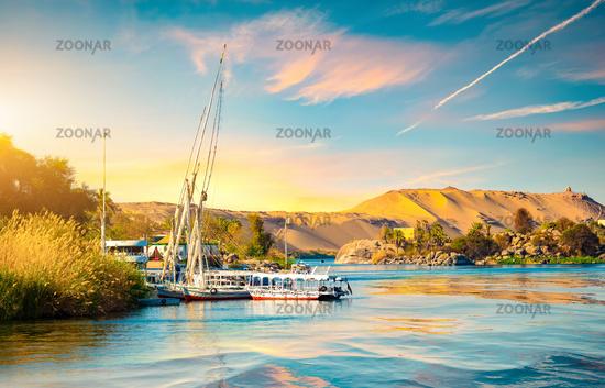 Moored sailboats in Aswan