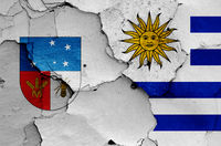 flags of Colonia Department and Uruguay painted on cracked wall