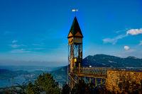 Bürgenstock lift in Switzerland with Rigi and Luceren. Travel
