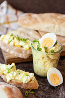 Egg salad on white bread