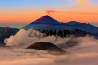 Mt.Bromo,Mt.Semeru,Mt.Batok covered with fog and sulfur gas in East Java,Indonesia