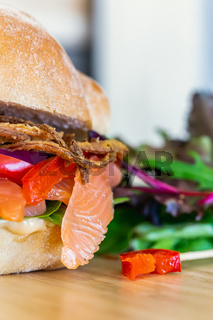 Closeup shot of salmon sandwich