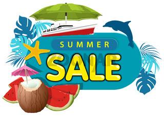 Sommerschlussverkauf Aufkleber oder Banner mit Kokosnussgetränk