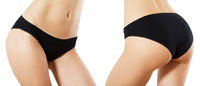 Black panties set mockup - attractive woman's body set against white background, slim beautiful body isolation