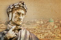florence, italy - dante in front of the panorama of florence