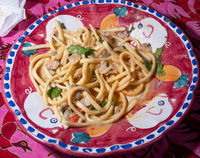 Scialatielli pasta with seafood mix