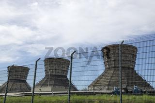 Holz-Kuehltuerme des alten Kraftwerks Datteln, NRW, Deutschland, 2014