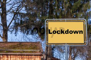 Ortsschild Lockdown