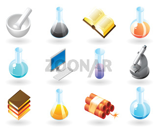 Isometric-style icons for chemistry