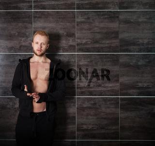 Handsome muscular male model near