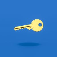 Yellow Key on Blue Background