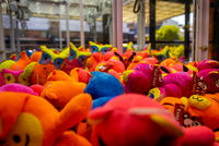Close up of colorful soft toys of funny animals inside a spending machine