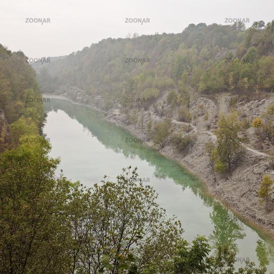 Canyon, Steinbruch im Kleefeld nature reserve, Lengerich, North Rhine-Westphalia, Germany, Europe
