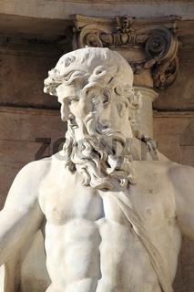 Oceanus in the Trevi Fountain of Rome