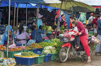 Drive-in vegetable shopping on a motor bike at Phosi market, Luang Prabang, Laos