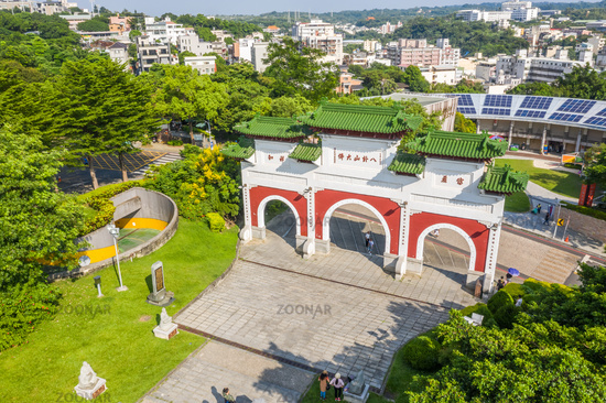 aerial view of stone archway of Bagua Mountain