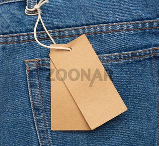 blank brown rectangular tag, close up