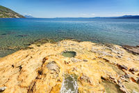 The hot springs of Loutra Aidispsos in Evia island, Greece