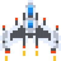 Vintage spaceship, game hero in pixel art style on white