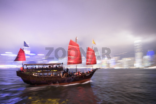 Tourist boat in Hong Kong Harbour