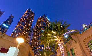 Towers of Dubai Marina at night