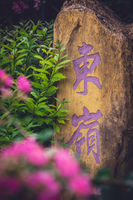 Stone with chinese characters painted in purple colour