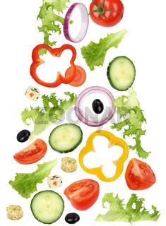 Fallender Salat mit Tomate, Gurke, Zwiebel und Paprika