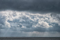 Dark clouds over the North Sea near city Wilhelmshaven, Lower Saxony, Germany
