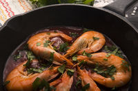 grilled shrimps with tomato sauce