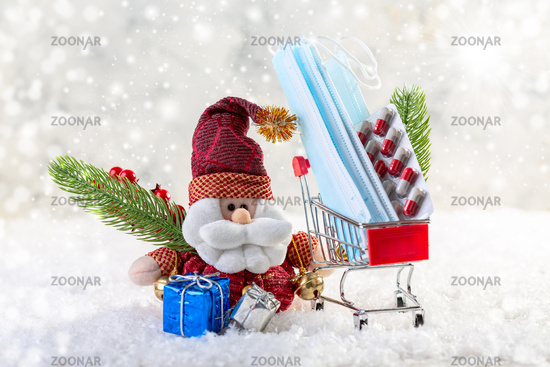 Christmas with Santa Claus coronavirus. Christmas composition.
