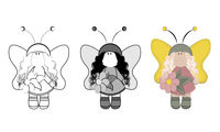 Fairy with wings in a magnificent dress and with a flower in her hand - set of three pictures