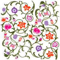 Floral pattern Bloomed, flowers isolated on white background. - vector illustration
