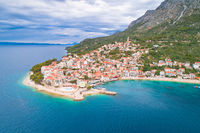 Igrane village on Makarska riviera and Biokovo mountain aerial sea view