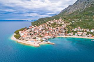 Igrane village on Makarska riviera and Biokovo mountain aerial sea view
