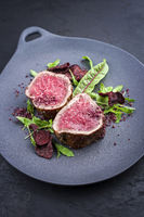Fried dry aged beef fillet steak natural with vegetable fries and lettuce offered as close-up on a modern design plate