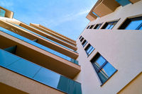 Facades of newly built residential buildings in the city center of Magdeburg in Germany