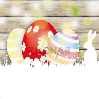 Easter Card Rabbit Wood 3 Eggs