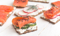 Canapes with salmon and vegetables