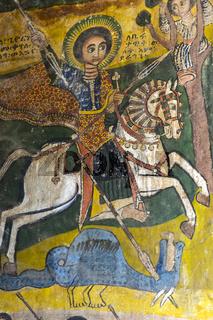 Der Heilige Georg, Canvas Gemälde, Kirche Abreha wa Atsbaha, Gheralta Region, Tigray, Äthiopien