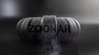 car wheels on black background. Poster or cover design. 3D rendering illustration.